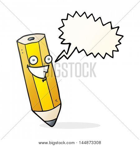 happy freehand drawn speech bubble cartoon pencil
