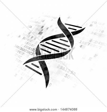 Science concept: Pixelated black DNA icon on Digital background