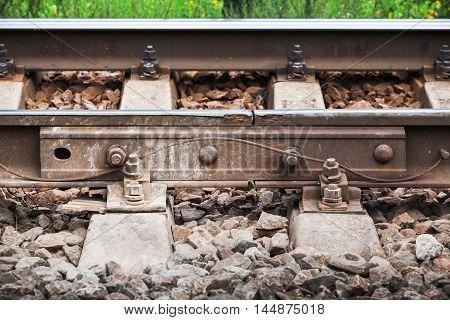 Railway Details, Rails Joint With Gap, Closeup