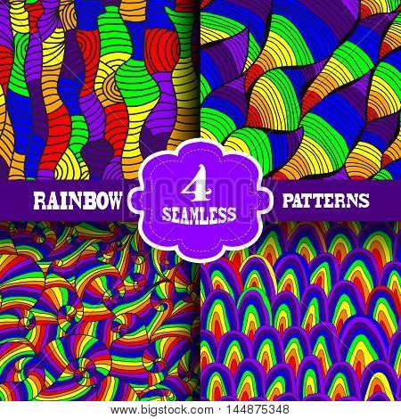 Set of 4 seamless patterns in rainbow colors with abstract waves design elements. Multicolor patterns for wedding invitations greeting cards scrapbooking print gift wrap manufacturing.