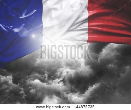 France flag on a bad day