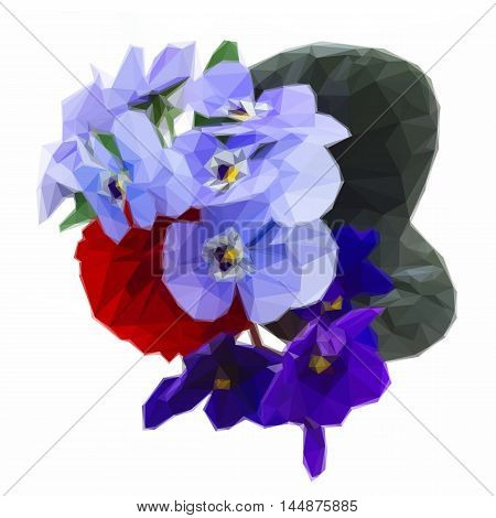 Low poly illustration Posy of fresh violets, pansies and ranunculus