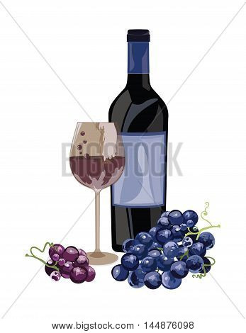 Bottle of Red white and a glass. Fresh grapes watercolor illustration. Vector