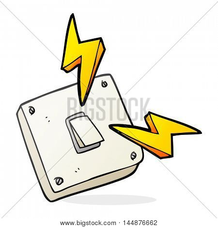 freehand drawn cartoon sparking electric light switch