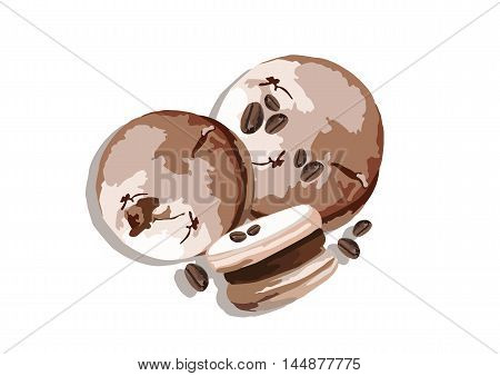 Delicious Macaroons isolated on white. Coffee cream flavor dessert