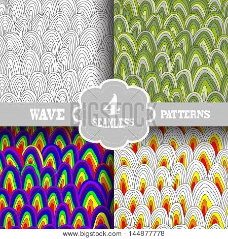 Set of 4 elegant seamless patterns with hand drawn decorative waves design elements. Decorative patterns for invitations greeting cards scrapbooking print gift wrap manufacturing.