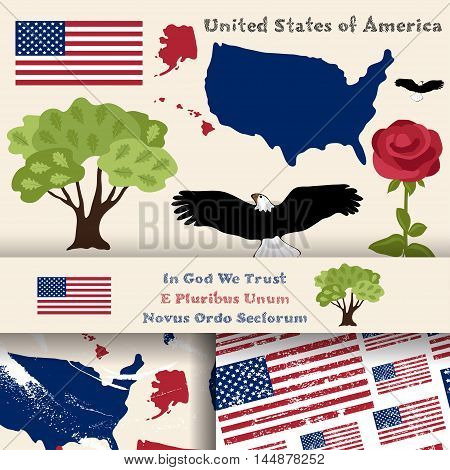 Set of principal symbols of United States of America map flag and slogan. 2 seamless patterns with american flag and map.