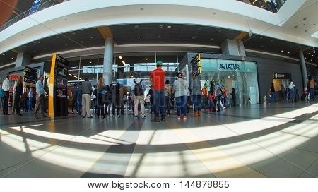Bogota, Cundinamarca / Colombia - January 22 2016: Activity inside the El Dorado International Airport in the city of Bogota
