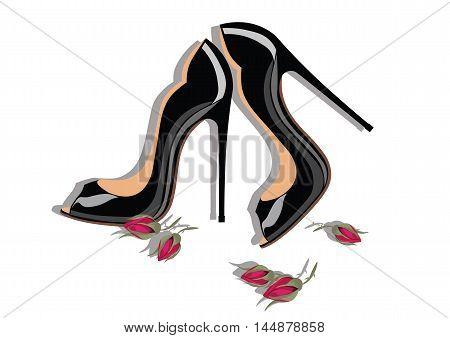 Beautiful Black shinning Shoes. Vector Watercolor illustration