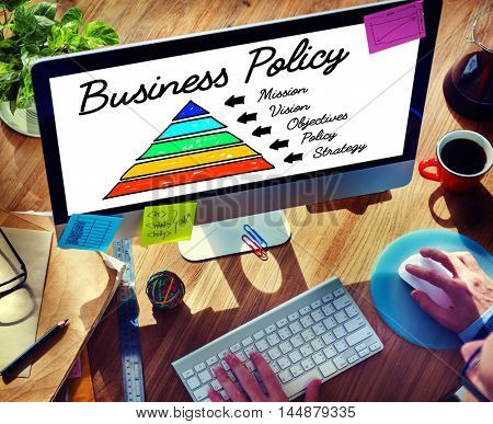 Business Policy Action Pyramid Concept