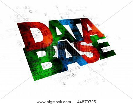 Database concept: Pixelated multicolor text Database on Digital background