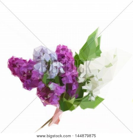 Low poly illustration Posy of fresh lilac flowers with green leaves