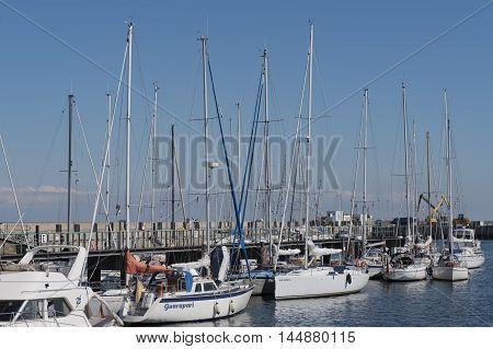Hamburg, Germany - August 18, 2016: yacht harbor on Helgoland, August 18, 2016, in the Germany Hamburg