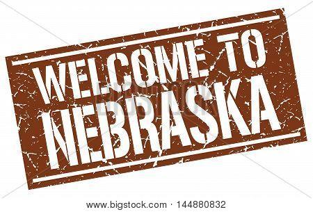 welcome to Nebraska. stamp. grunge square sign