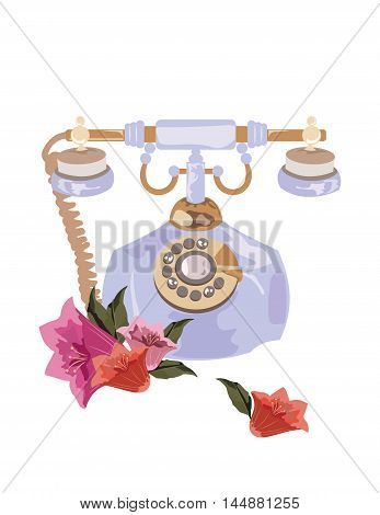 Antique Style Retro phone Vector. Gold and lavender colors