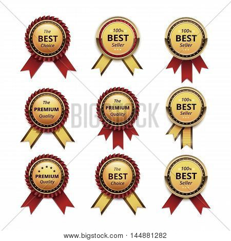 Vector Set of Top Quality Guarantee Golden labels with Dark Red Crimson Ribbons Close up Isolated on White Background