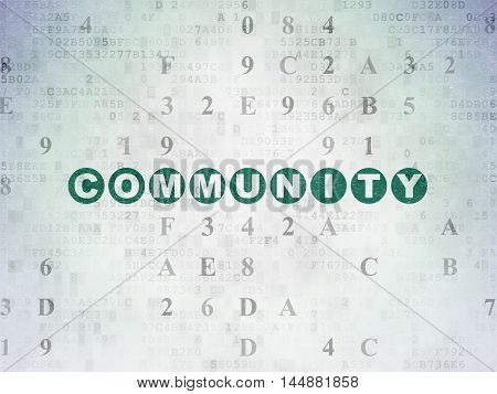 Social media concept: Painted green text Community on Digital Data Paper background with Hexadecimal Code