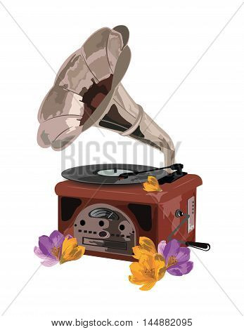 Vintage Retro gramophone and flowers Vector illustration