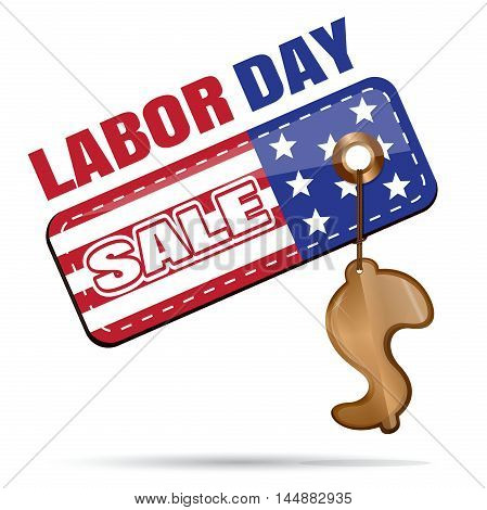 Labor Day Sale. Tag with gold trinkets in the shape of a dollar. Illustration isolated on white background