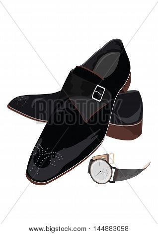 Black classic male shoes and watch. Black elegant shoes and vintage clock Vector
