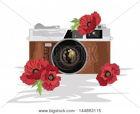 Retro style camera with flowers ornaments Vector illustration