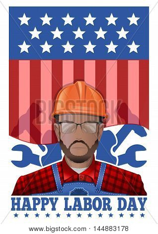 Labor Day logo design. Happy Labor Day card