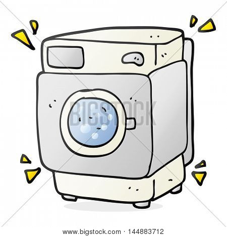freehand drawn cartoon rumbling washing machine