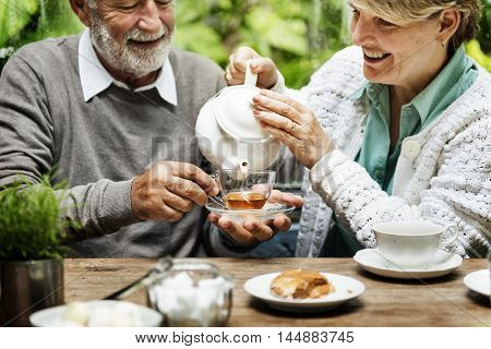 Senior Couple Afternoon Tean Drinking Relax Concept