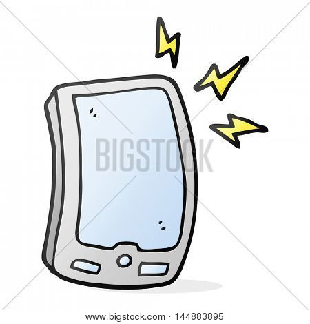 freehand drawn cartoon mobile phone