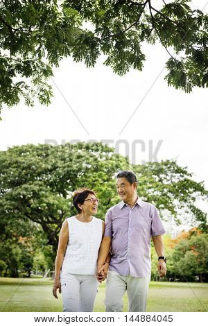 Senior Asian Couple Outdoors Nature Concept