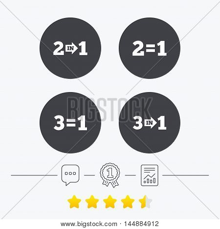 Special offer icons. Take two pay for one sign symbols. Profit at saving. Chat, award medal and report linear icons. Star vote ranking. Vector
