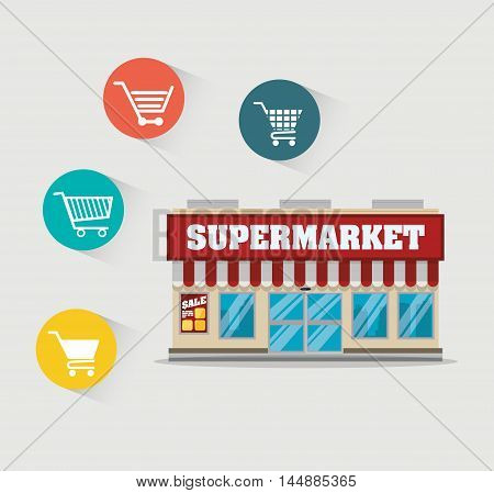 supermarket awning shopping cart shop store sale offer market icon set. Colorful and flat design. Vector illustration