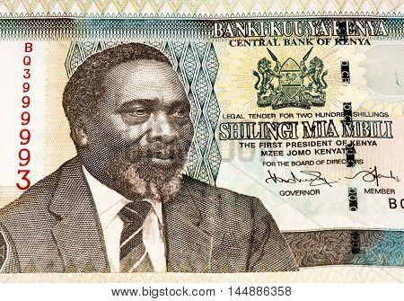 200 Kenyan shillings bank note of Kenya. Kenyan shilling is the national currency of Kenya