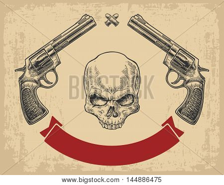 Two revolver with bullets skull and ribbon. Vector engraving illustrations. Isolated on beige vintage background. For tattoo web shooting club and label