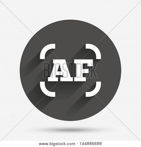 Autofocus photo camera sign icon. AF Settings symbol. Circle flat button with shadow. Vector
