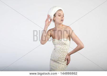 beautiful young fashion women posing in studio