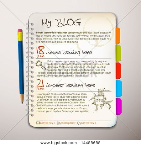 Blog-websitesjabloon - Open Kladblok met kleurrijke bookmarks