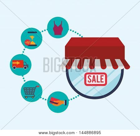 supermarket awning shopping cart cloth shop store sale offer market icon set. Colorful and flat design. Vector illustration
