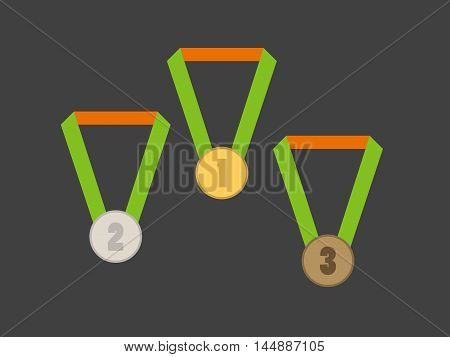A set of medals gold silver and bronze medal. Vector illustration.