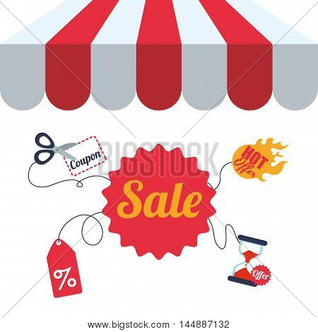 supermarket awning label scissor hourglass shopping shop store sale offer market icon set. Colorful and flat design. Vector illustration