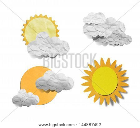 Grunge recycled paper cloud on blue background