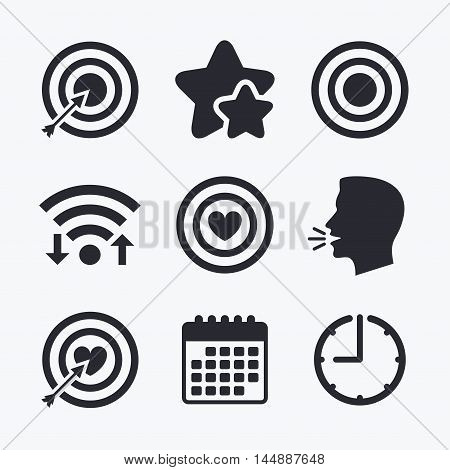 Target aim icons. Darts board with heart and arrow signs symbols. Wifi internet, favorite stars, calendar and clock. Talking head. Vector