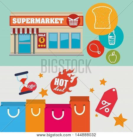 supermarket food awning shopping bag shop store sale offer market icon set. Colorful and flat design. Vector illustration