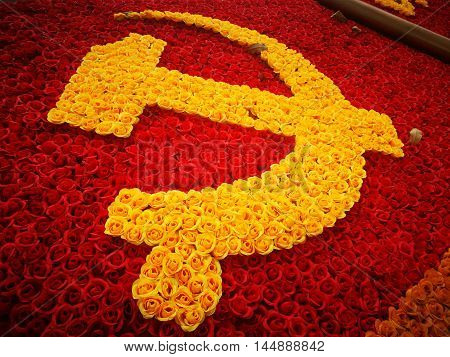 Decoration symbol of Communist Party on a street in Hanoi, Vietnam