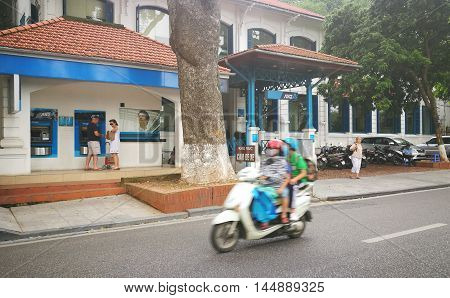 Hanoi, Vietnam - Aug 30, 2016: Front view of the brand of ANZ commercial bank - an old house near Hoan Kiem (Sword) lake in Hanoi capital. ANZ is one of Australia's four largest banks.