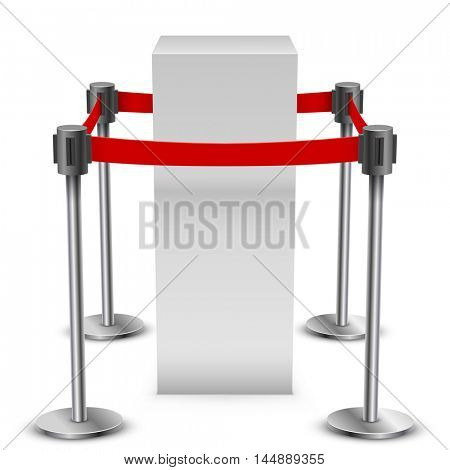Empty white museum display podium surrounded with barrier tape vector template. Exhibition equipment isolated on white background.