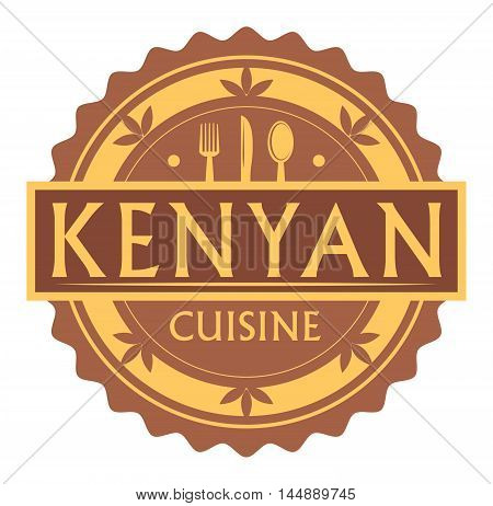 Abstract stamp or label with the text Kenyan Cuisine written inside, traditional vintage food label, with spoon, fork, knife symbols, vector illustration