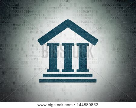 Law concept: Painted blue Courthouse icon on Digital Data Paper background