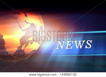 Graphical Digital News Background With Earth Globe on Floor Concept Series