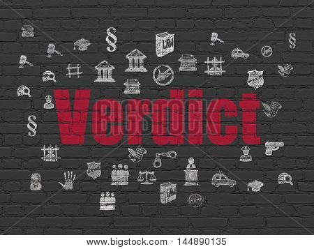 Law concept: Painted red text Verdict on Black Brick wall background with  Hand Drawn Law Icons